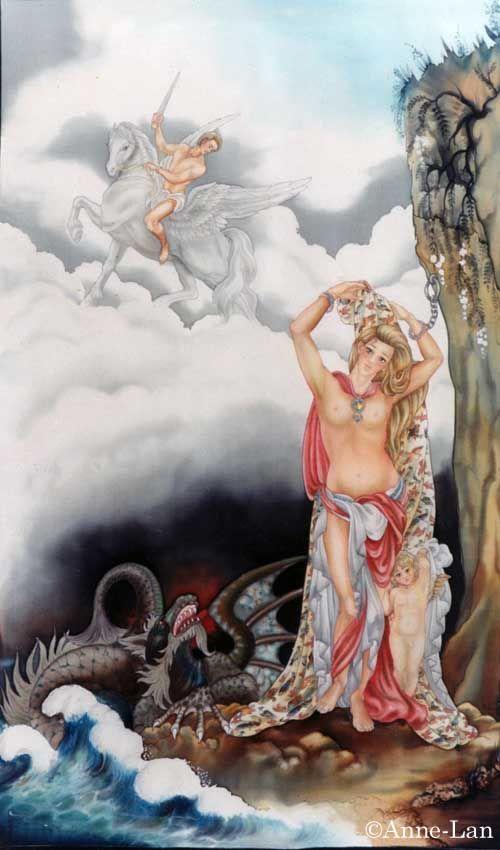 Andromède et Persée - Peinture sur soie © Anne-Lan