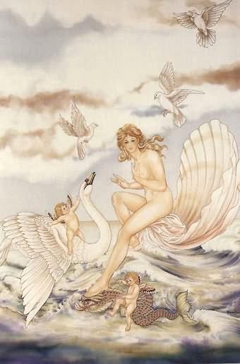 Aphrodite à la vague - Peinture sur soie © Anne-Lan