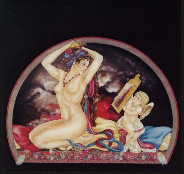 Aphrodite à sa toilette - Peinture sur soie © Anne-Lan
