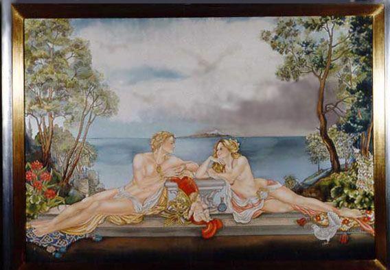 Aphrodite et Ares - Peinture sur soie © Anne-Lan