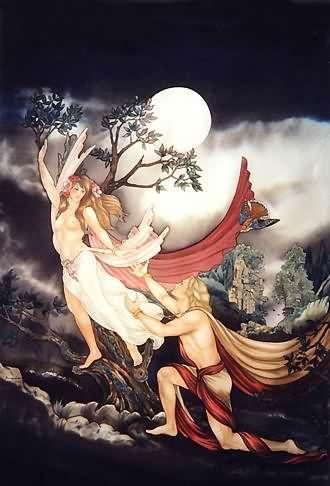 Apollon et Daphné - Peinture sur soie © Anne-Lan