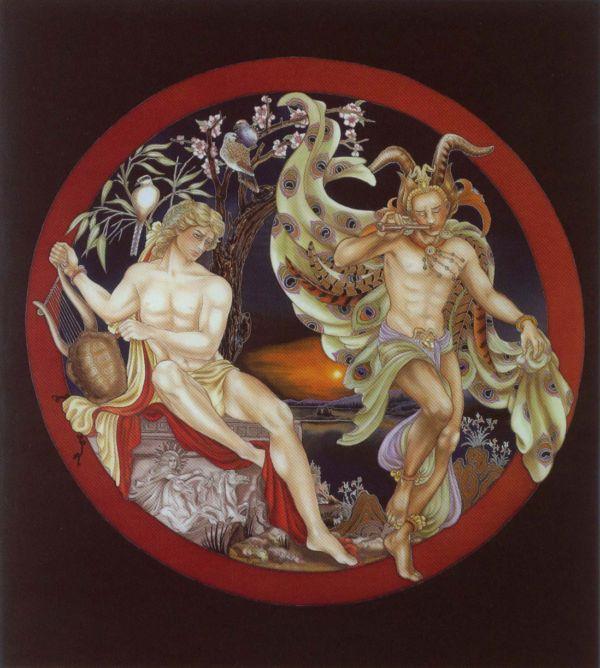 Apollon et Marsyas - Peinture sur soie © Anne-Lan