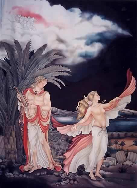 Apollon et Terpsychore - Peinture sur soie © Anne-Lan