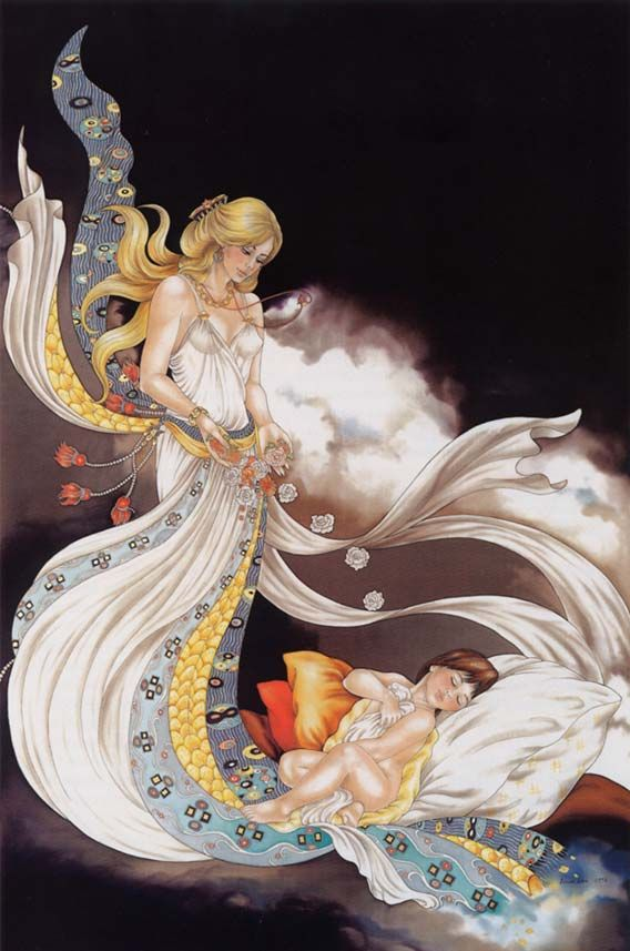 Apparition - Peinture sur soie © Anne-Lan