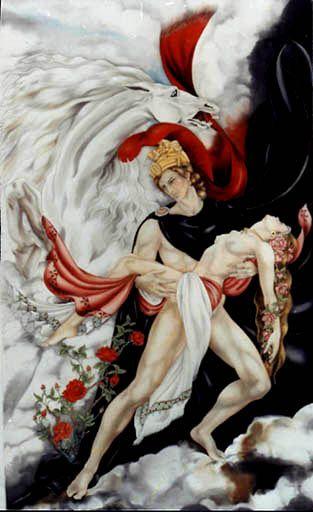 Enlèvement de Perséphone - Peinture sur soie © Anne-Lan