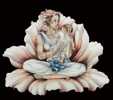 Femme Fleur - Peinture sur soie © Anne-Lan
