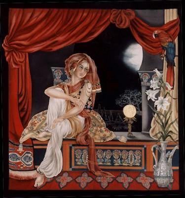 La Lune était Sereine - Peinture sur soie © Anne-Lan