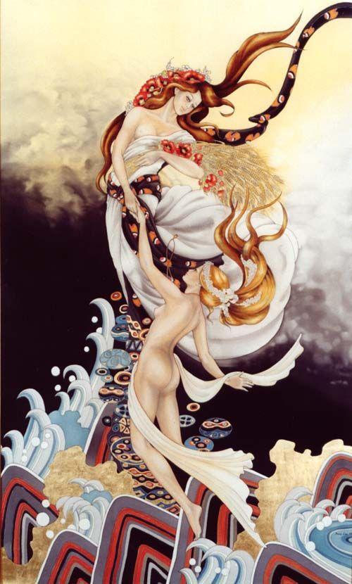 La Naissance Du Printemps - Peinture sur soie © Anne-Lan