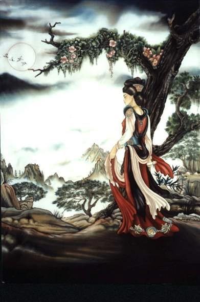 La Robe de céremonie - Peinture sur soie © Anne-Lan
