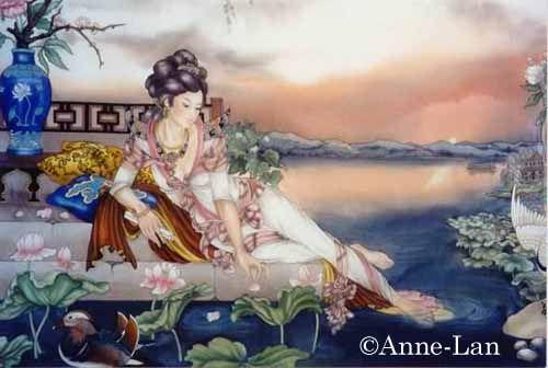 Lune De Printemps - Peinture sur soie © Anne-Lan