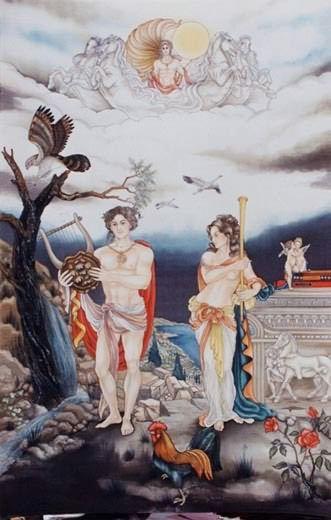 Orphée et Calliope - Peinture sur soie © Anne-Lan