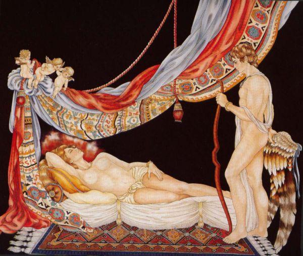Pyschée endormie - Peinture sur soie © Anne-Lan