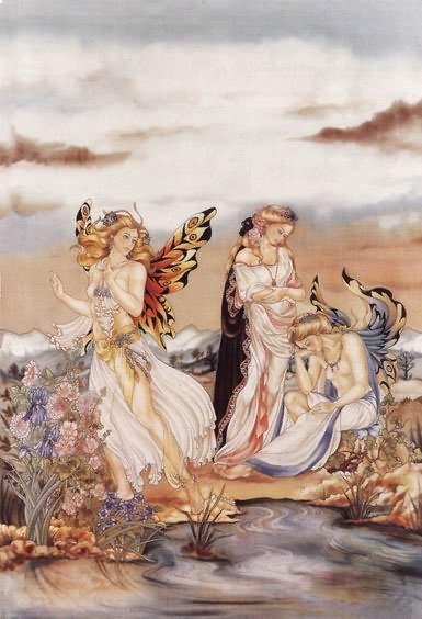 Psychée et ses Compagnes - Peinture sur soie © Anne-Lan