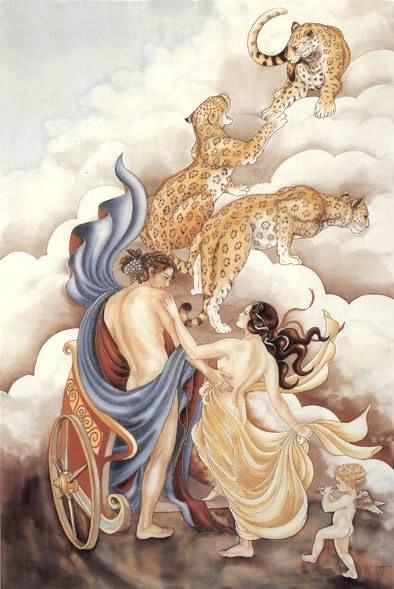 Ariane et Dionysos- Peinture sur soie © Anne-Lan