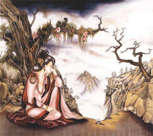 Le Vent - Peinture sur soie © Anne-Lan